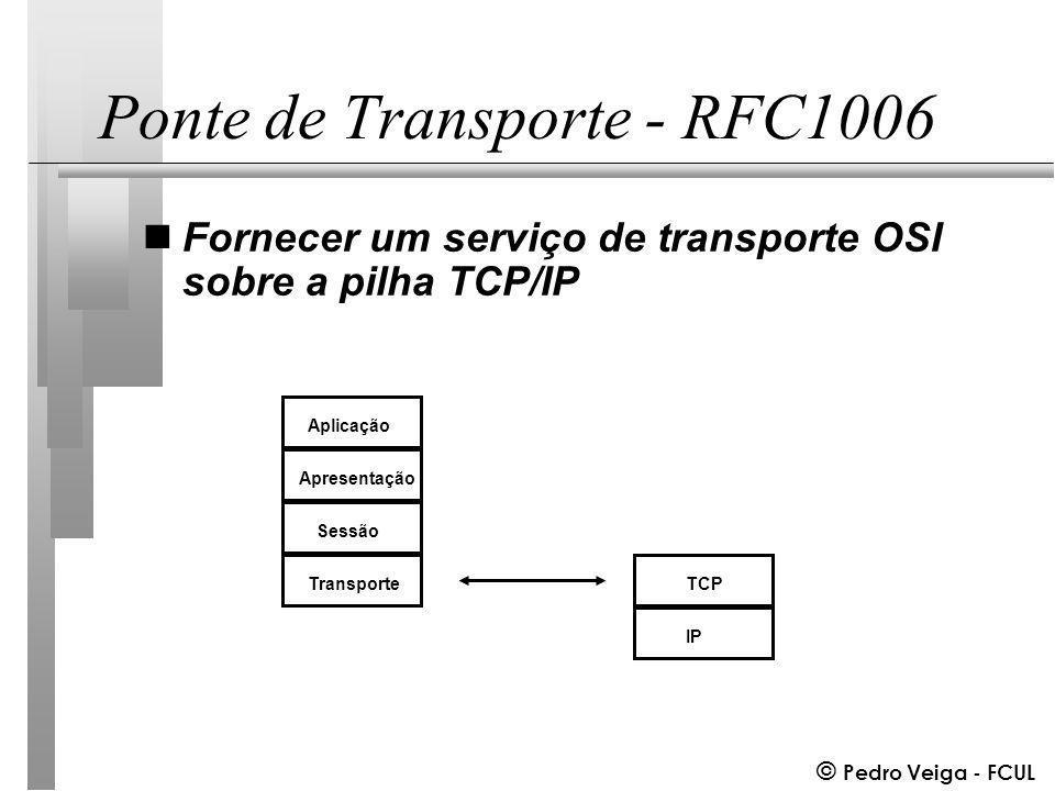 © Pedro Veiga - FCUL Ponte de Transporte - RFC1006 nFornecer um serviço de transporte OSI sobre a pilha TCP/IP Aplicação Apresentação Sessão Transporte IP TCP
