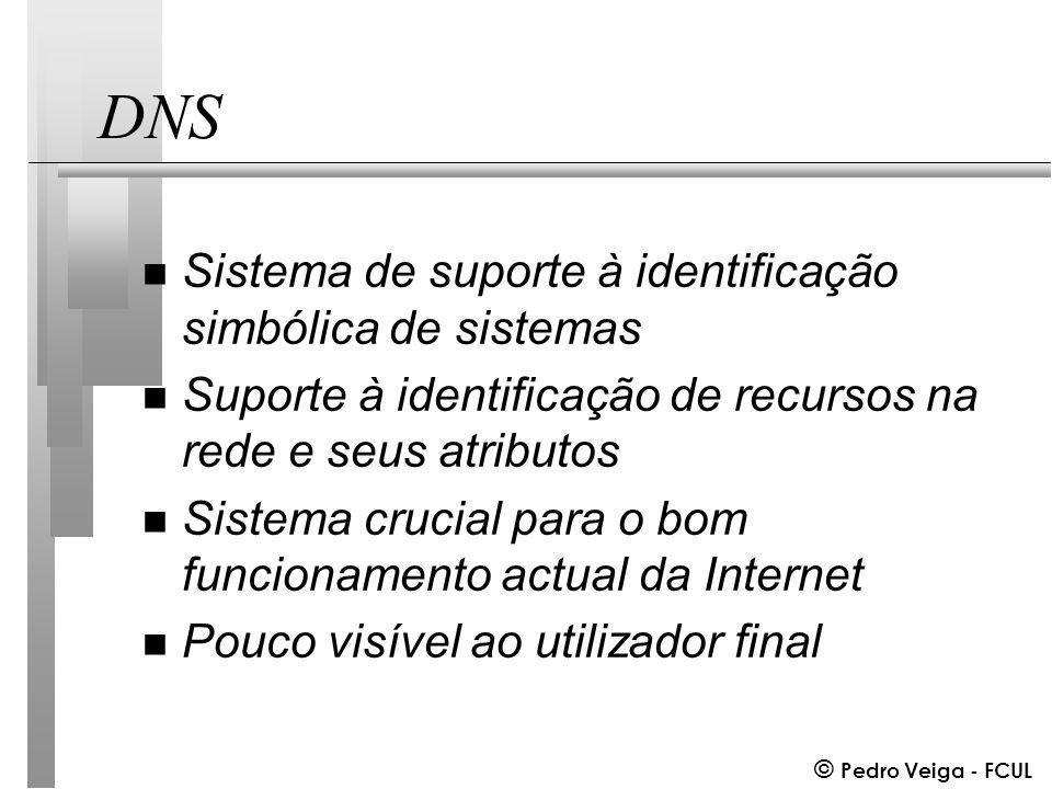 © Pedro Veiga - FCUL DNS n Sistema de suporte à identificação simbólica de sistemas n Suporte à identificação de recursos na rede e seus atributos n Sistema crucial para o bom funcionamento actual da Internet n Pouco visível ao utilizador final