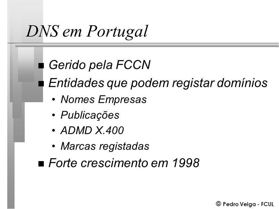 © Pedro Veiga - FCUL DNS em Portugal n Gerido pela FCCN n Entidades que podem registar domínios Nomes Empresas Publicações ADMD X.400 Marcas registadas n Forte crescimento em 1998