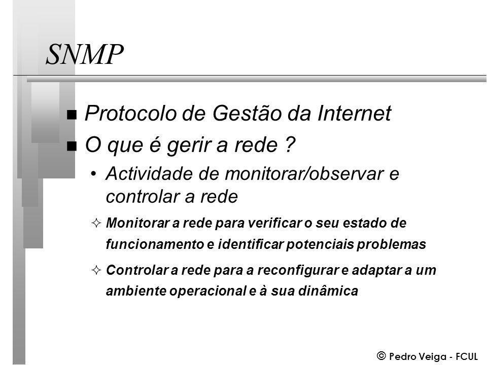 © Pedro Veiga - FCUL SNMP n Protocolo de Gestão da Internet n O que é gerir a rede .