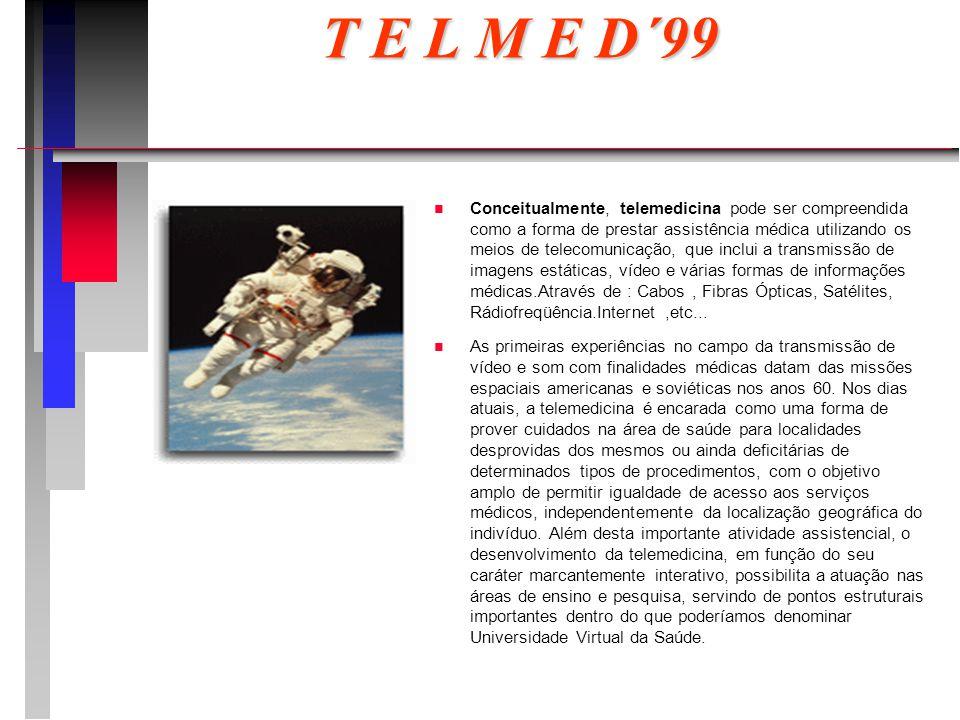 T E L M E D´99 n n Conceitualmente, telemedicina pode ser compreendida como a forma de prestar assistência médica utilizando os meios de telecomunicação, que inclui a transmissão de imagens estáticas, vídeo e várias formas de informações médicas.Através de : Cabos, Fibras Ópticas, Satélites, Rádiofreqüência.Internet,etc...