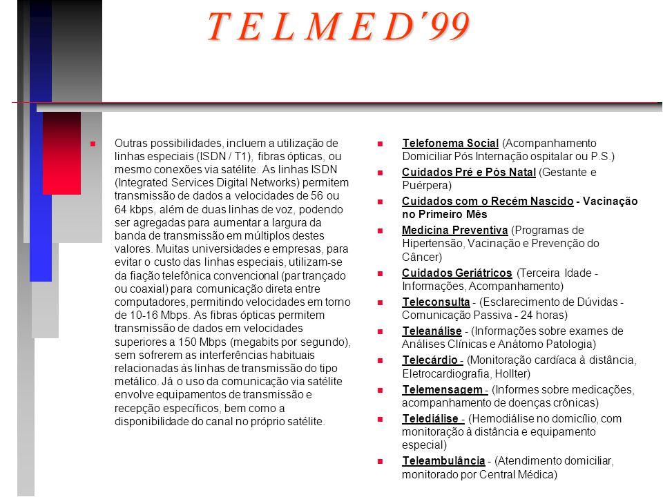 T E L M E D´99 n n Outras possibilidades, incluem a utilização de linhas especiais (ISDN / T1), fibras ópticas, ou mesmo conexões via satélite.
