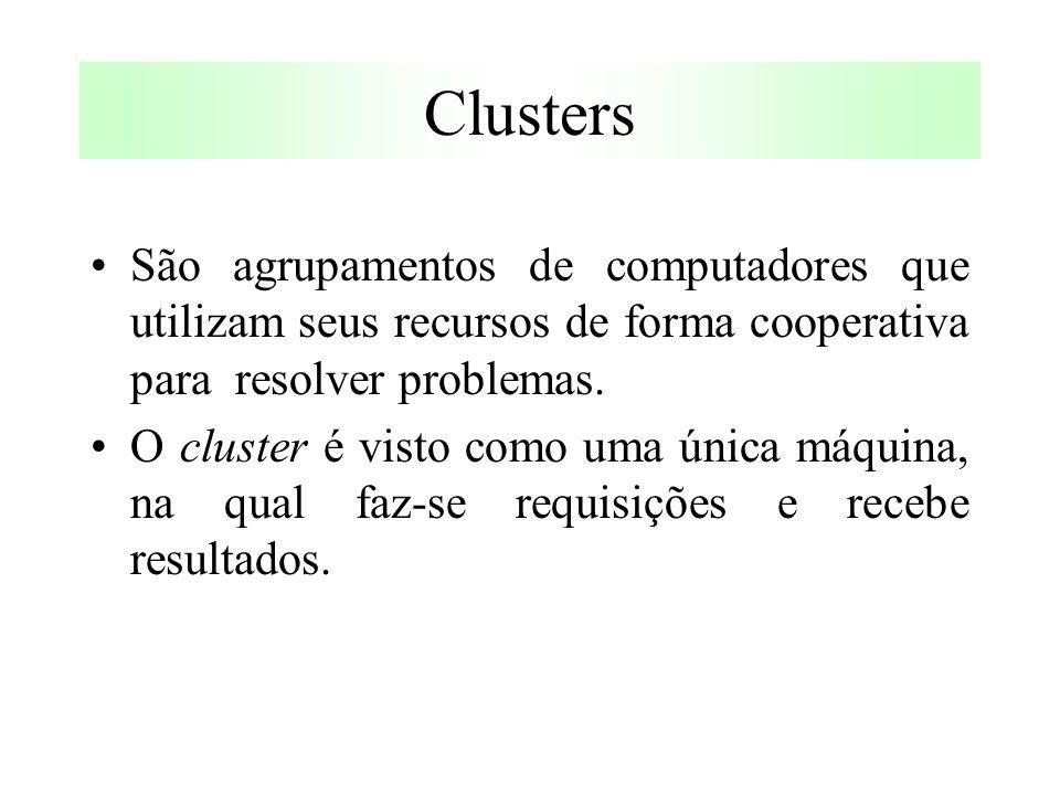 Clusters São agrupamentos de computadores que utilizam seus recursos de forma cooperativa para resolver problemas.