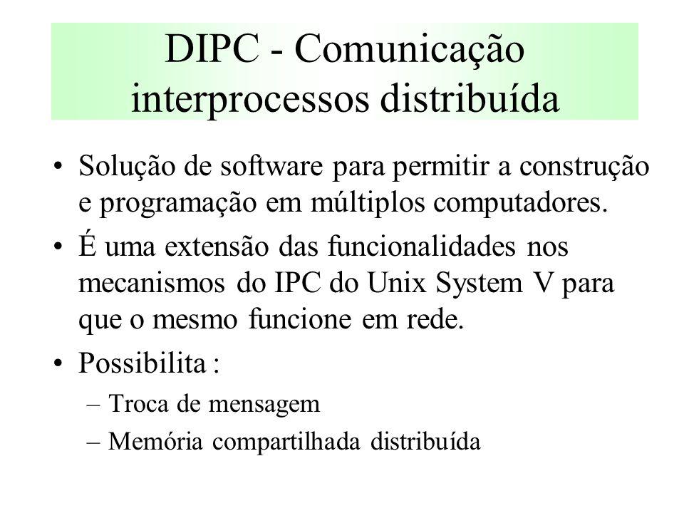 DIPC - Comunicação interprocessos distribuída Solução de software para permitir a construção e programação em múltiplos computadores.