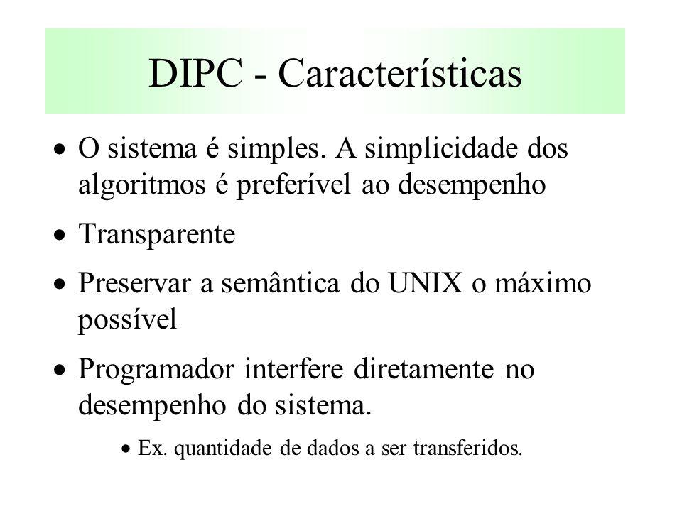  O sistema é simples. A simplicidade dos algoritmos é preferível ao desempenho  Transparente  Preservar a semântica do UNIX o máximo possível  Pro
