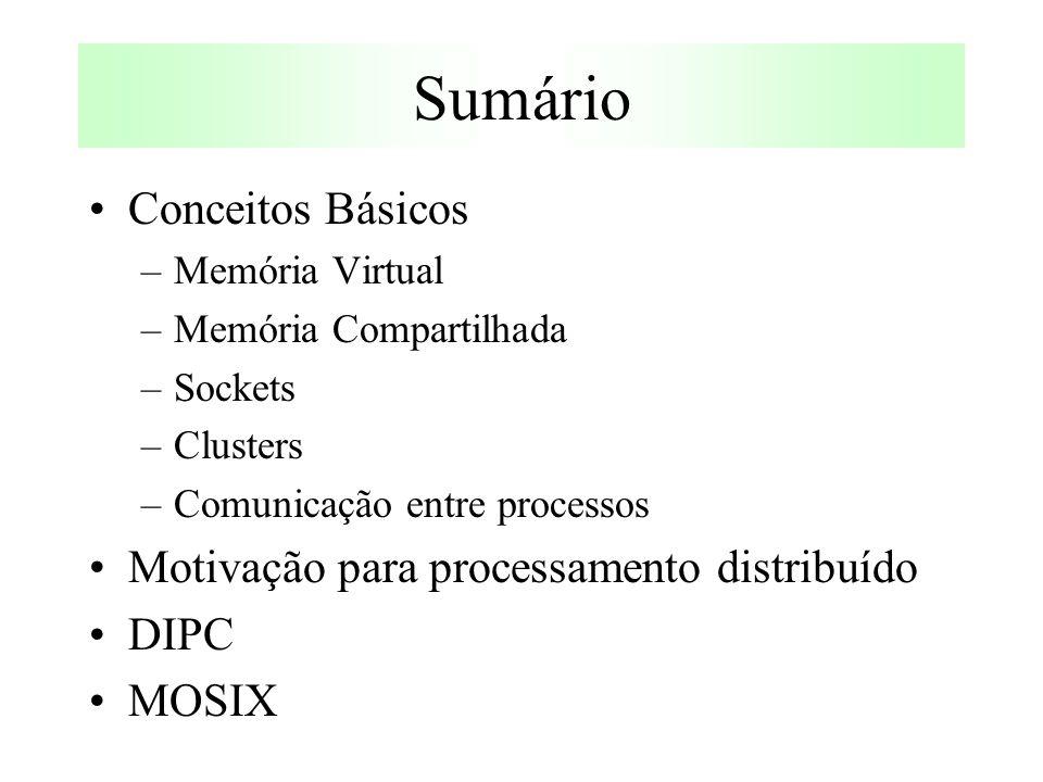 Sumário Conceitos Básicos –Memória Virtual –Memória Compartilhada –Sockets –Clusters –Comunicação entre processos Motivação para processamento distribuído DIPC MOSIX