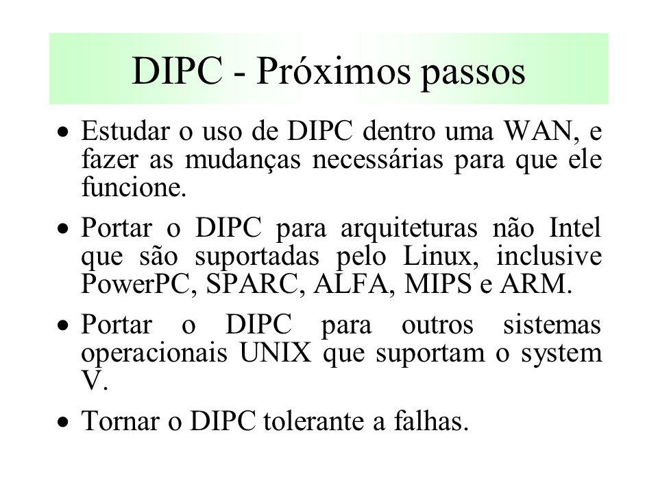 DIPC - Próximos passos  Estudar o uso de DIPC dentro uma WAN, e fazer as mudanças necessárias para que ele funcione.