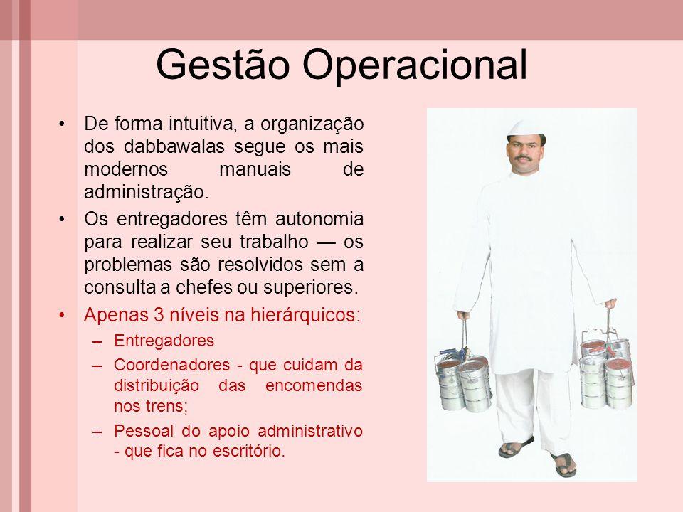 Gestão Operacional De forma intuitiva, a organização dos dabbawalas segue os mais modernos manuais de administração. Os entregadores têm autonomia par