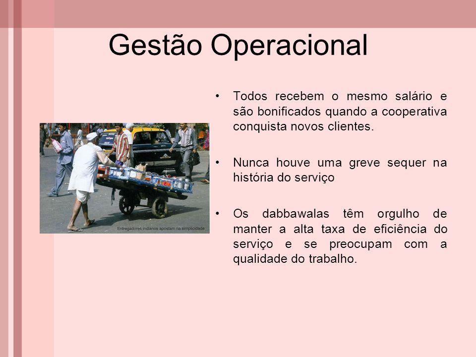 Gestão Operacional Todos recebem o mesmo salário e são bonificados quando a cooperativa conquista novos clientes. Nunca houve uma greve sequer na hist