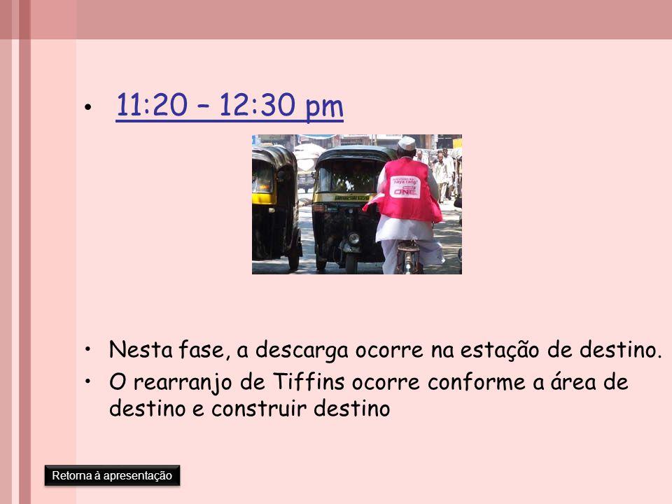 11:20 – 12:30 pm Nesta fase, a descarga ocorre na estação de destino. O rearranjo de Tiffins ocorre conforme a área de destino e construir destino Ret