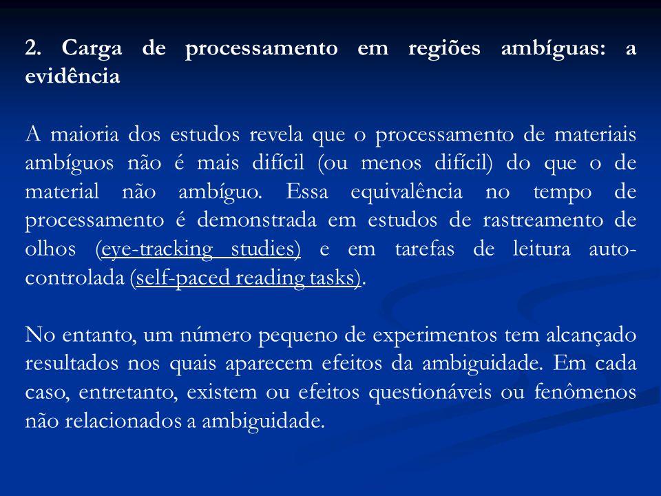2. Carga de processamento em regiões ambíguas: a evidência A maioria dos estudos revela que o processamento de materiais ambíguos não é mais difícil (