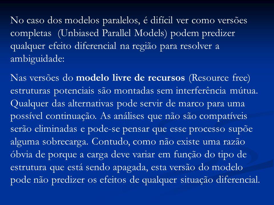 No caso dos modelos paralelos, é difícil ver como versões completas (Unbiased Parallel Models) podem predizer qualquer efeito diferencial na região para resolver a ambiguidade: Nas versões do modelo livre de recursos (Resource free) estruturas potenciais são montadas sem interferência mútua.