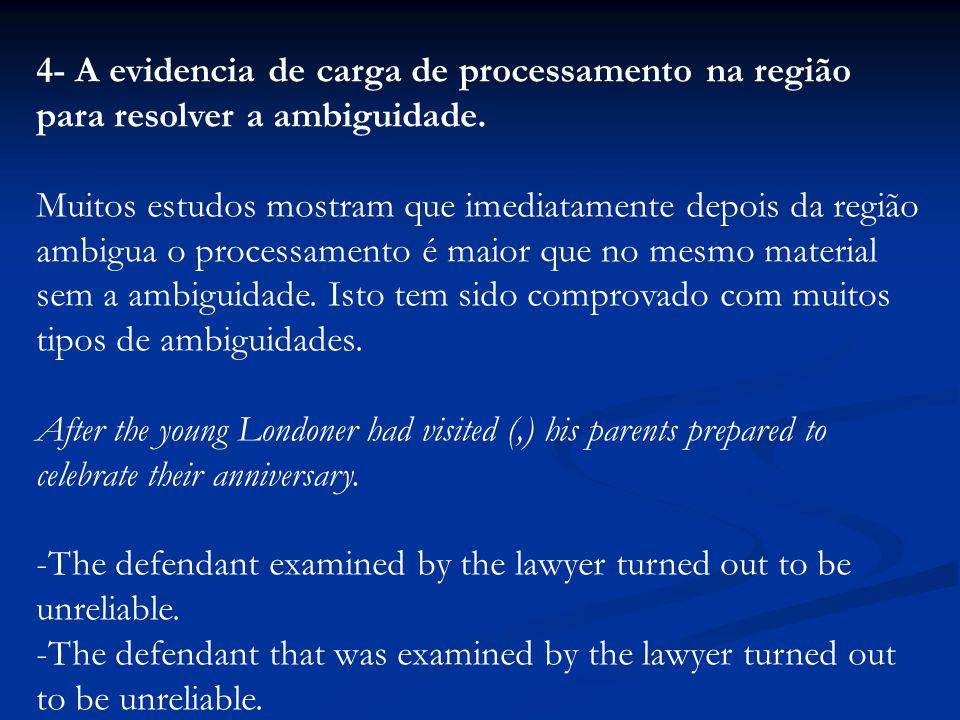 4- A evidencia de carga de processamento na região para resolver a ambiguidade. Muitos estudos mostram que imediatamente depois da região ambigua o pr