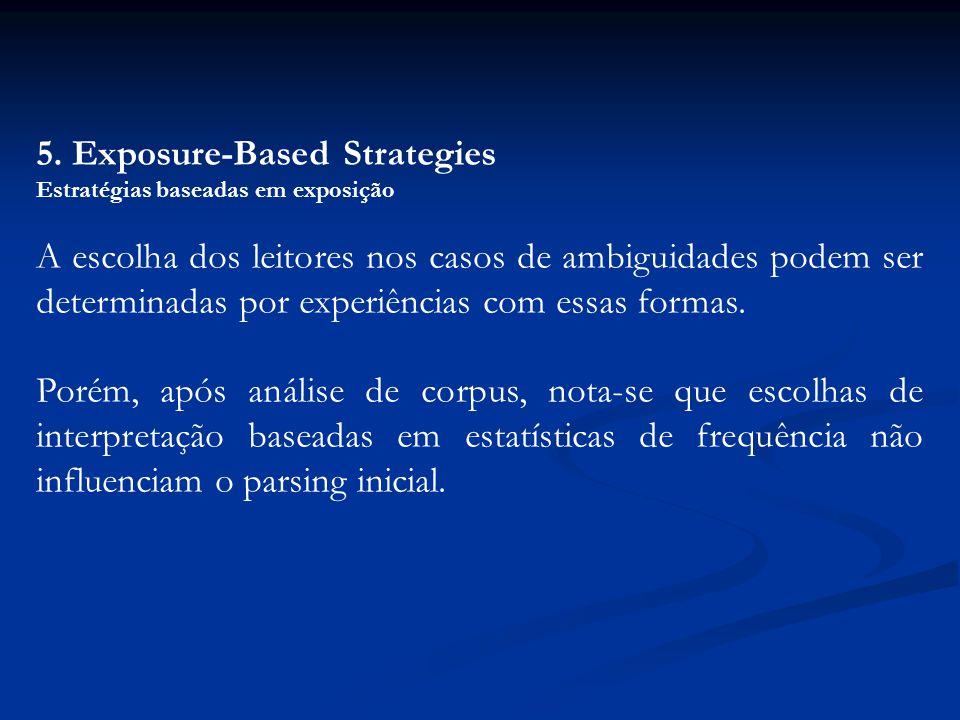 5. Exposure-Based Strategies Estratégias baseadas em exposição A escolha dos leitores nos casos de ambiguidades podem ser determinadas por experiência