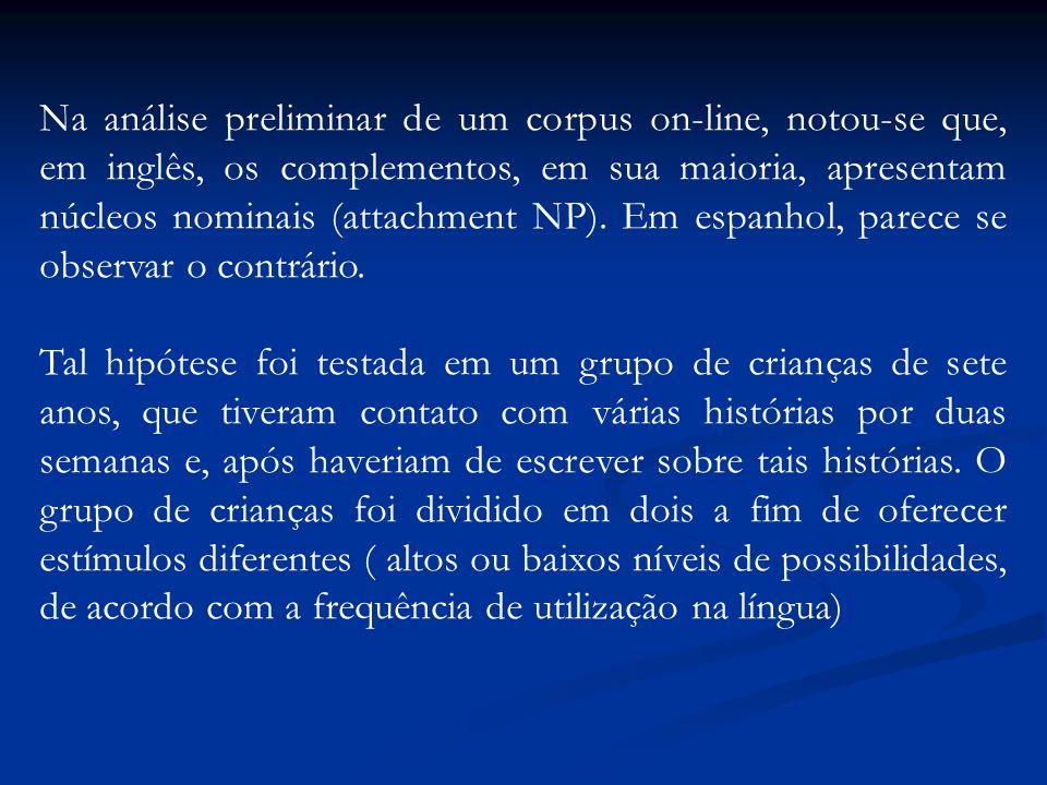 Na análise preliminar de um corpus on-line, notou-se que, em inglês, os complementos, em sua maioria, apresentam núcleos nominais (attachment NP). Em