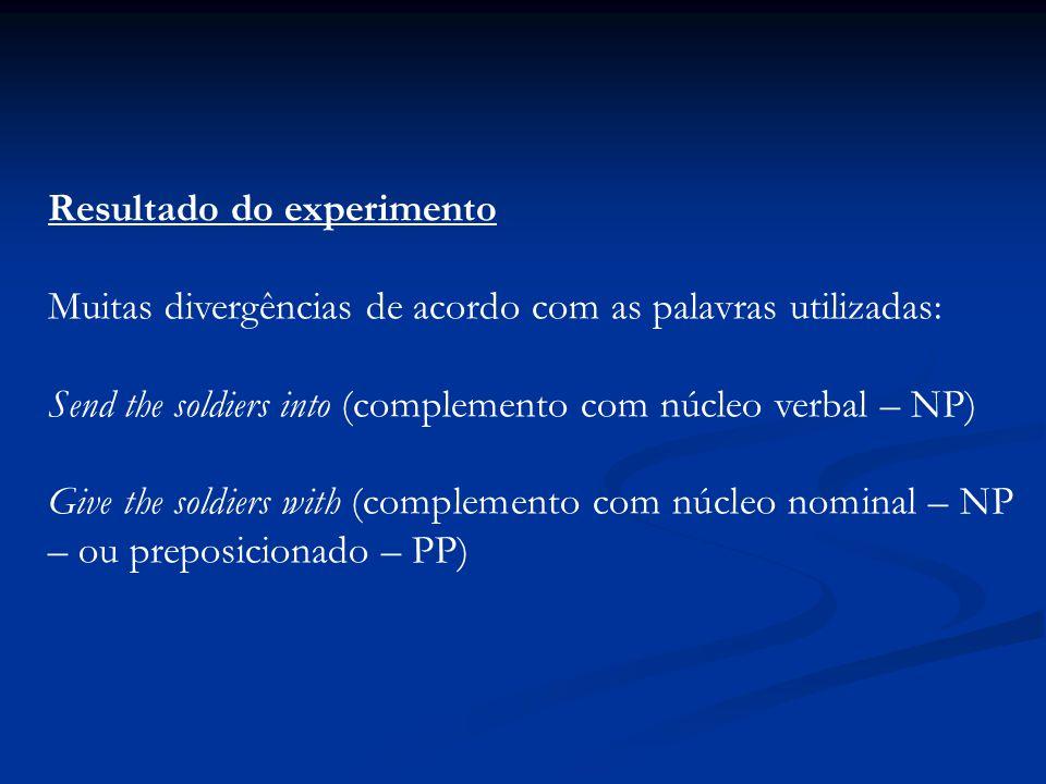 Resultado do experimento Muitas divergências de acordo com as palavras utilizadas: Send the soldiers into (complemento com núcleo verbal – NP) Give th