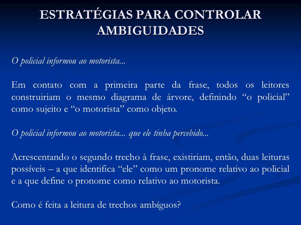 Há três caminhos possíveis para solucionar ambiguidades: 1.