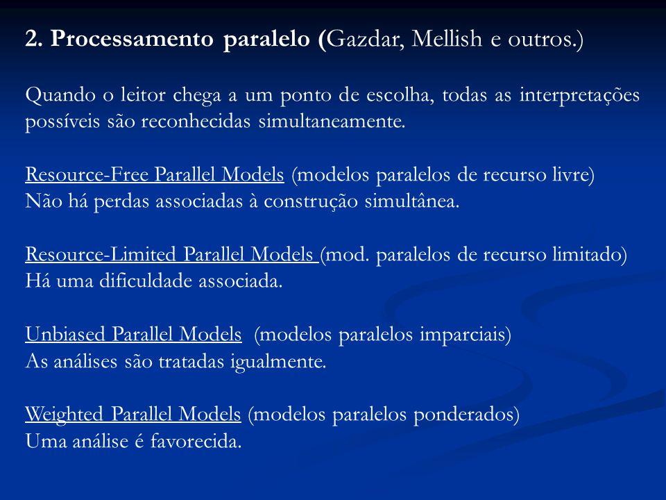 2. Processamento paralelo (Gazdar, Mellish e outros.) Quando o leitor chega a um ponto de escolha, todas as interpretações possíveis são reconhecidas