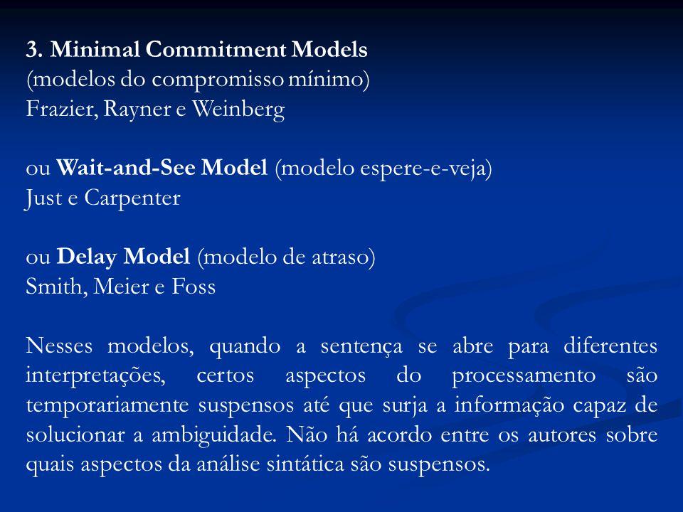 3. Minimal Commitment Models (modelos do compromisso mínimo) Frazier, Rayner e Weinberg ou Wait-and-See Model (modelo espere-e-veja) Just e Carpenter