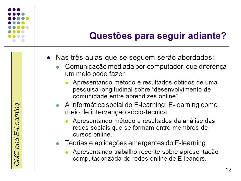 CMC and E-Learning 12 Questões para seguir adiante.