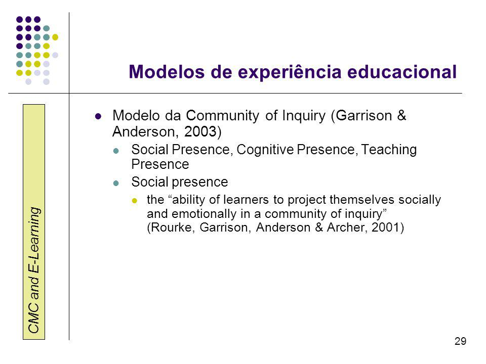 CMC and E-Learning 29 Modelos de experiência educacional Modelo da Community of Inquiry (Garrison & Anderson, 2003) Social Presence, Cognitive Presenc