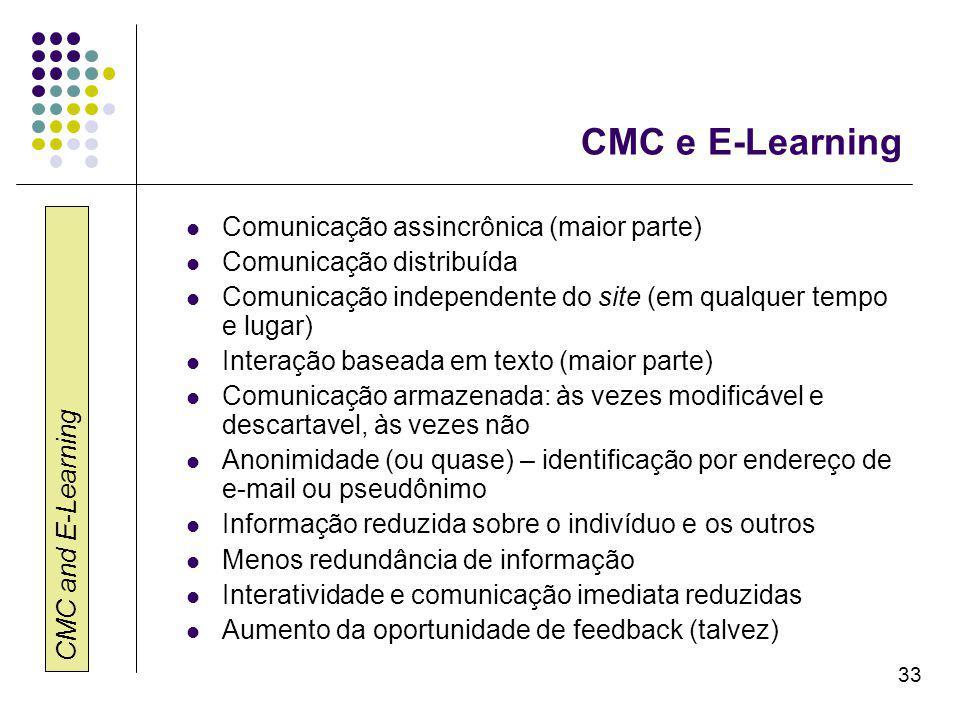 CMC and E-Learning 33 CMC e E-Learning Comunicação assincrônica (maior parte) Comunicação distribuída Comunicação independente do site (em qualquer tempo e lugar) Interação baseada em texto (maior parte) Comunicação armazenada: às vezes modificável e descartavel, às vezes não Anonimidade (ou quase) – identificação por endereço de e-mail ou pseudônimo Informação reduzida sobre o indivíduo e os outros Menos redundância de informação Interatividade e comunicação imediata reduzidas Aumento da oportunidade de feedback (talvez)