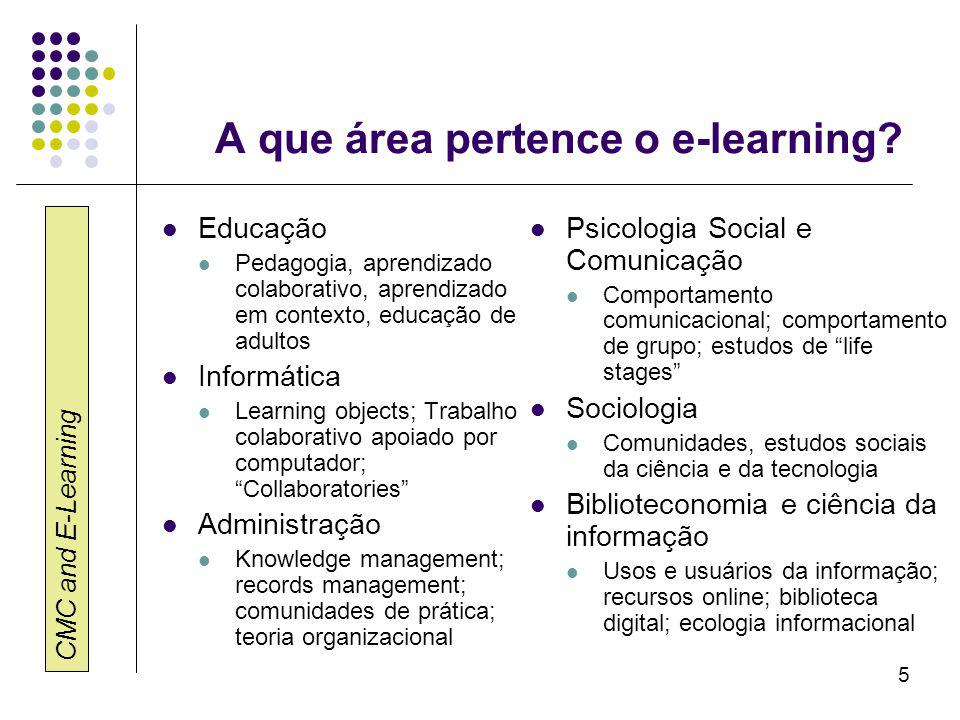 CMC and E-Learning 5 A que área pertence o e-learning.