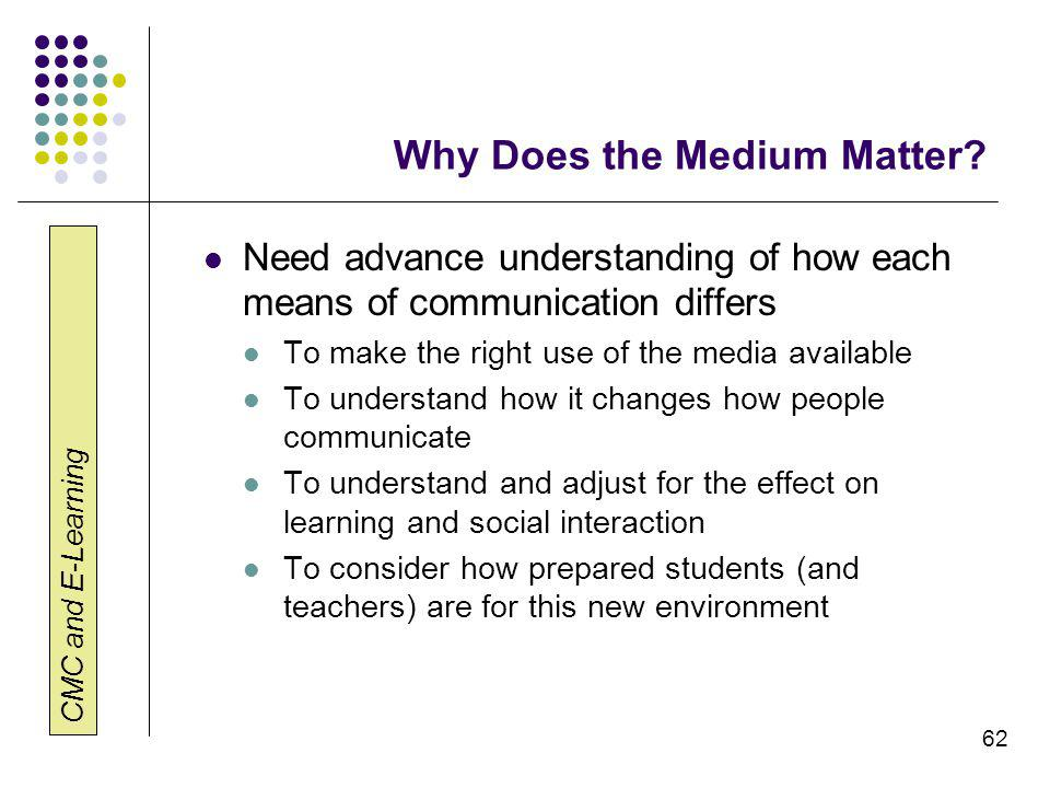 CMC and E-Learning 62 Why Does the Medium Matter.