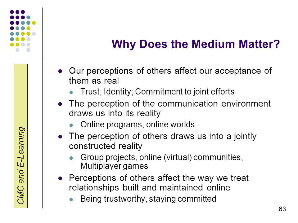 CMC and E-Learning 63 Why Does the Medium Matter.