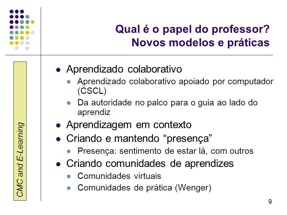 CMC and E-Learning 10 Qual é o papel do estudante.
