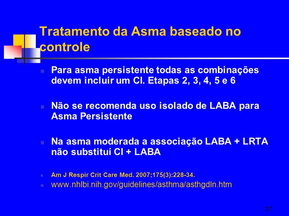27 Tratamento da Asma baseado no controle Para asma persistente todas as combinações devem incluir um CI.