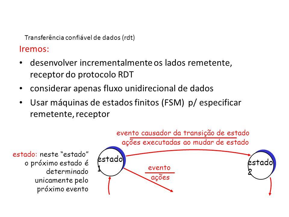 Rdt1.0: transferência confiável usando um canal confiável canal subjacente perfeitamente confiável – não tem erros de bits – não tem perda de pacotes FSMs separadas para remetente e receptor: – remetente envia dados pelo canal subjacente – receptor recebe dados do canal subjacente Wait for call from above packet = make_pkt(data) udt_send(packet) rdt_send(data) Wait for call from below rdt_rcv(packet) transmissor receptor