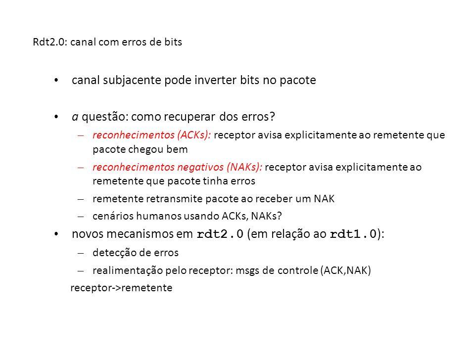 rdt2.0: especificação da FSM Wait for call from above snkpkt = make_pkt(data, checksum) udt_send(sndpkt) extract(rcvpkt,data) deliver_data(data) udt_send(ACK) rdt_rcv(rcvpkt) && notcorrupt(rcvpkt) rdt_rcv(rcvpkt) && isACK(rcvpkt) udt_send(sndpkt) rdt_rcv(rcvpkt) && isNAK(rcvpkt) udt_send(NAK) rdt_rcv(rcvpkt) && corrupt(rcvpkt) Wait for ACK or NAK Wait for call from below transmissor receptor rdt_send(data) 