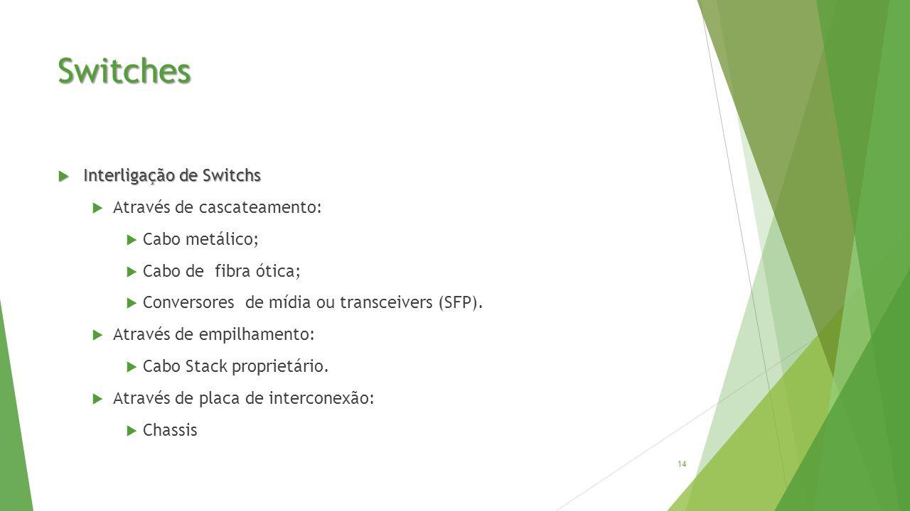 Switches  Interligação de Switchs  Através de cascateamento:  Cabo metálico;  Cabo de fibra ótica;  Conversores de mídia ou transceivers (SFP).