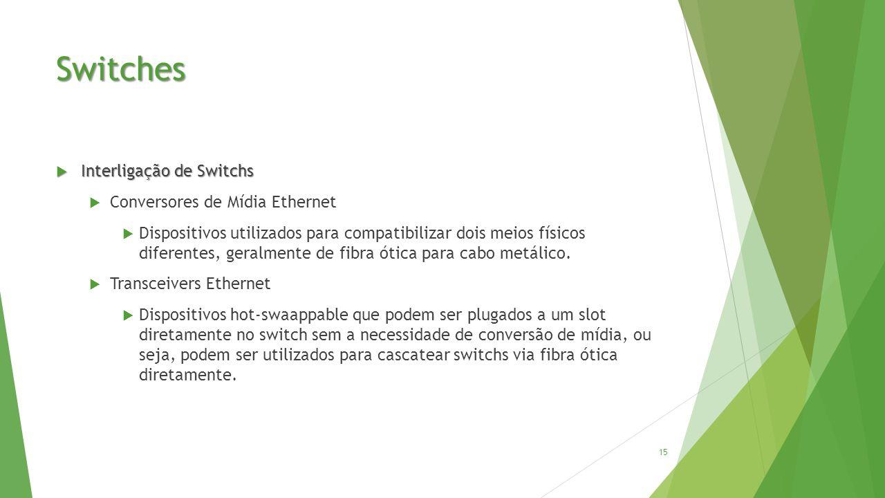 Switches  Interligação de Switchs  Conversores de Mídia Ethernet  Dispositivos utilizados para compatibilizar dois meios físicos diferentes, geralmente de fibra ótica para cabo metálico.
