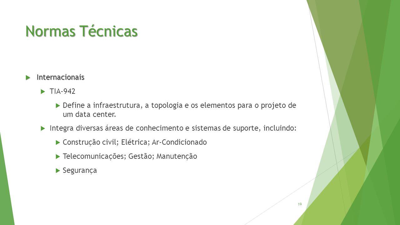 Normas Técnicas  Internacionais  TIA-942  Define a infraestrutura, a topologia e os elementos para o projeto de um data center.