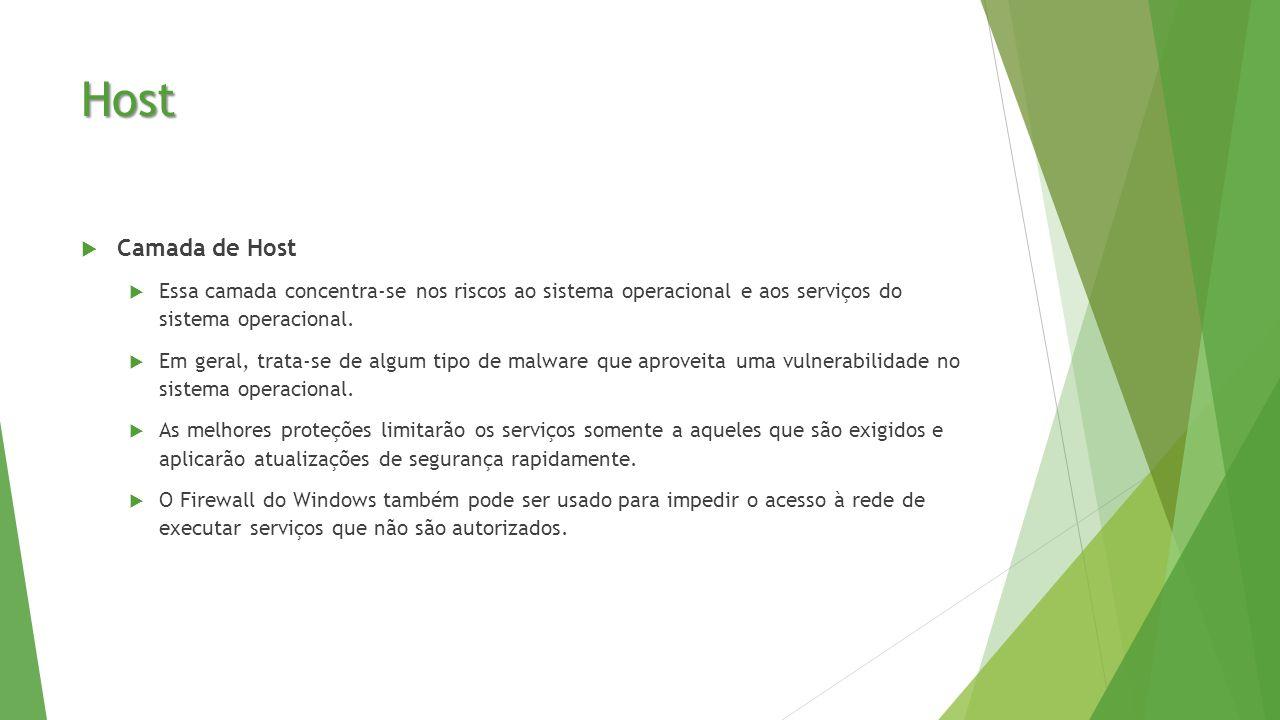 Host  Camada de Host  Essa camada concentra-se nos riscos ao sistema operacional e aos serviços do sistema operacional.