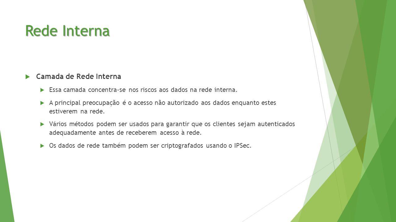 Rede Interna  Camada de Rede Interna  Essa camada concentra-se nos riscos aos dados na rede interna.