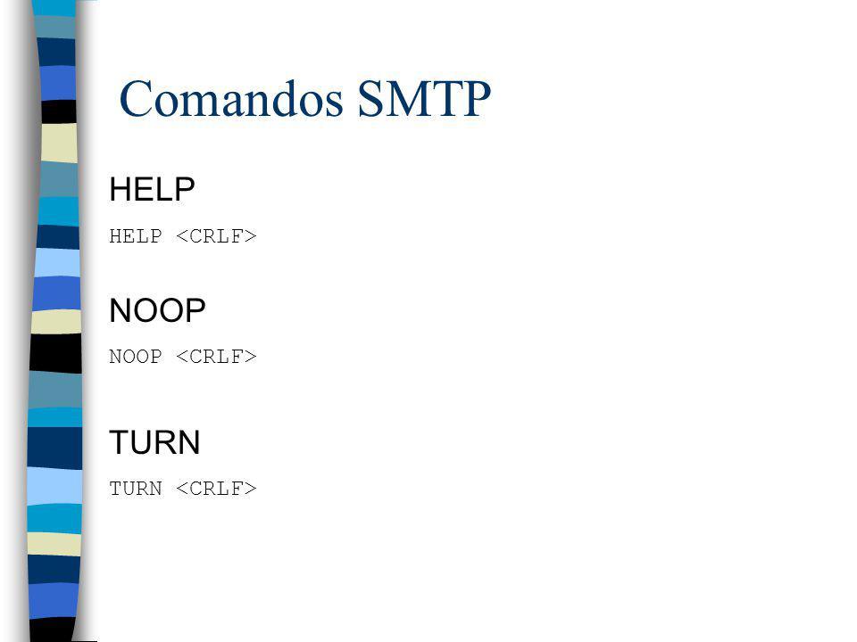 Comandos SMTP HELP NOOP TURN