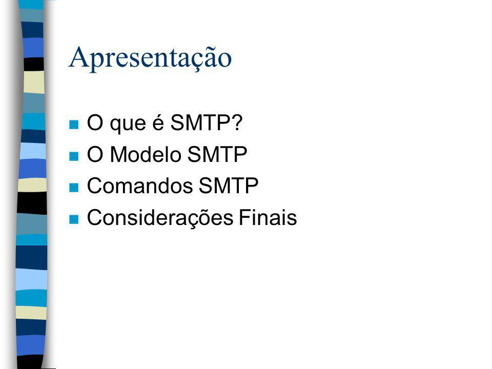 Considerações Finais n Aplicativos têm SMTP como padrão n Segurança (e-mails anônimos) n Extensões já existentes (ESMTP)