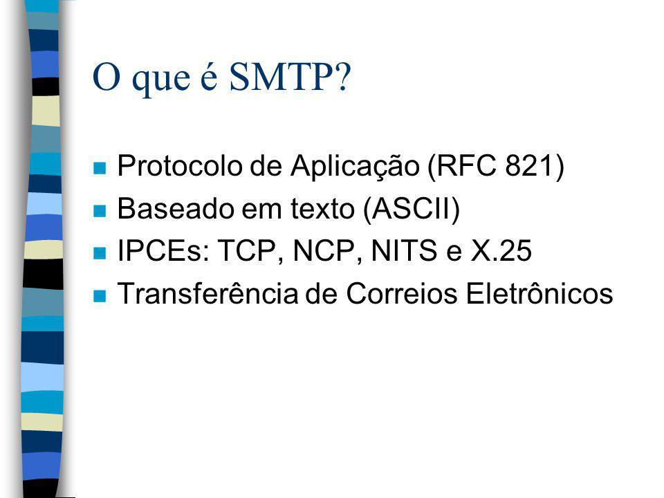 O que é SMTP? n Protocolo de Aplicação (RFC 821) n Baseado em texto (ASCII) n IPCEs: TCP, NCP, NITS e X.25 n Transferência de Correios Eletrônicos