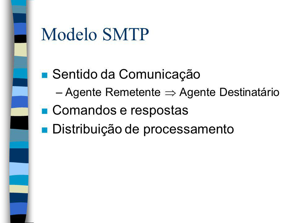 Comandos SMTP n Sintaxe rígida n Comandos baseados em texto (ASCII) e orientados a linha n Respostas para cada comando