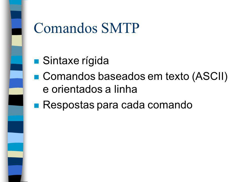 Comandos SMTP n HELO n QUIT n MAIL n RCPT n DATA n HELP n NOOP n SEND n SOML n SAML n RSET n VRFY n EXPN n TURN