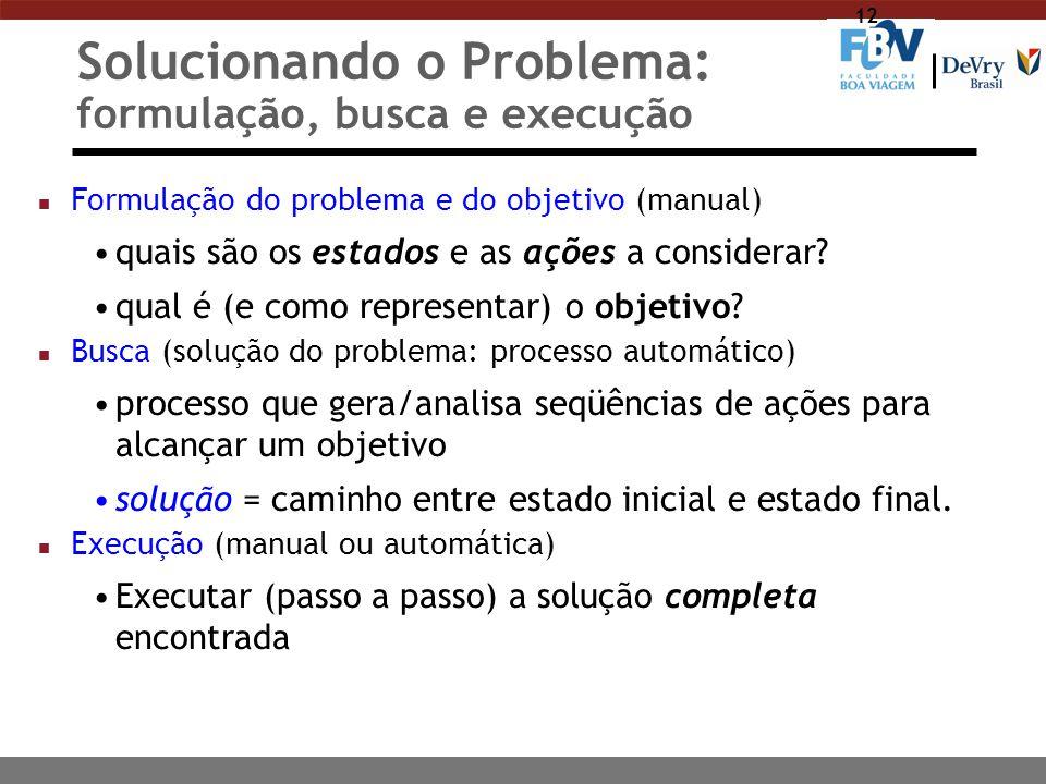 12 Solucionando o Problema: formulação, busca e execução n Formulação do problema e do objetivo (manual) quais são os estados e as ações a considerar?
