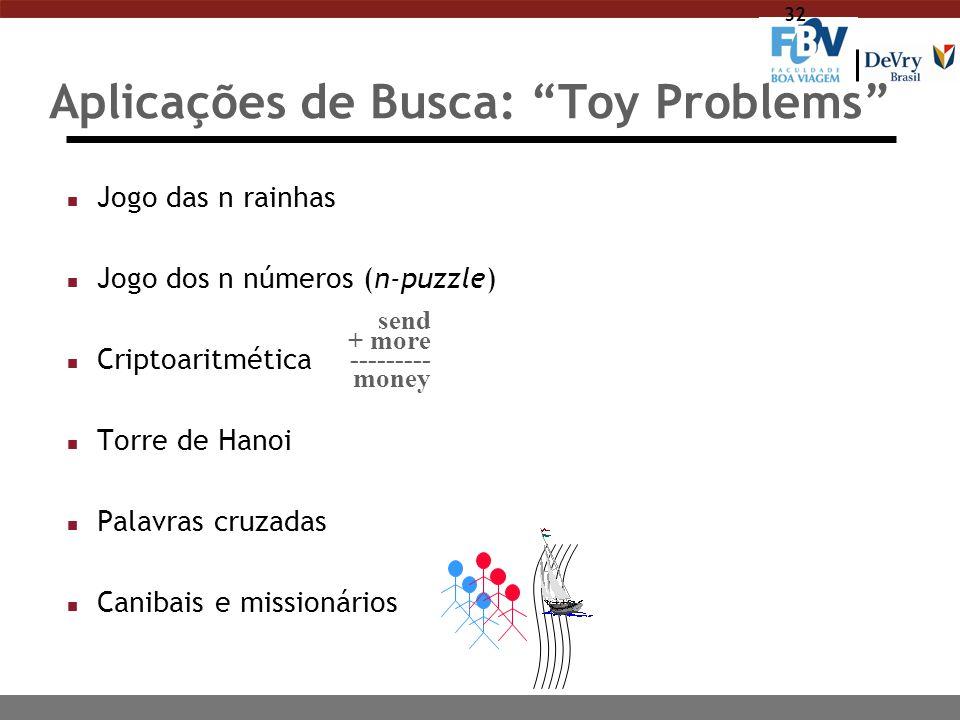 "32 Aplicações de Busca: ""Toy Problems"" n Jogo das n rainhas n Jogo dos n números (n-puzzle) n Criptoaritmética n Torre de Hanoi n Palavras cruzadas n"