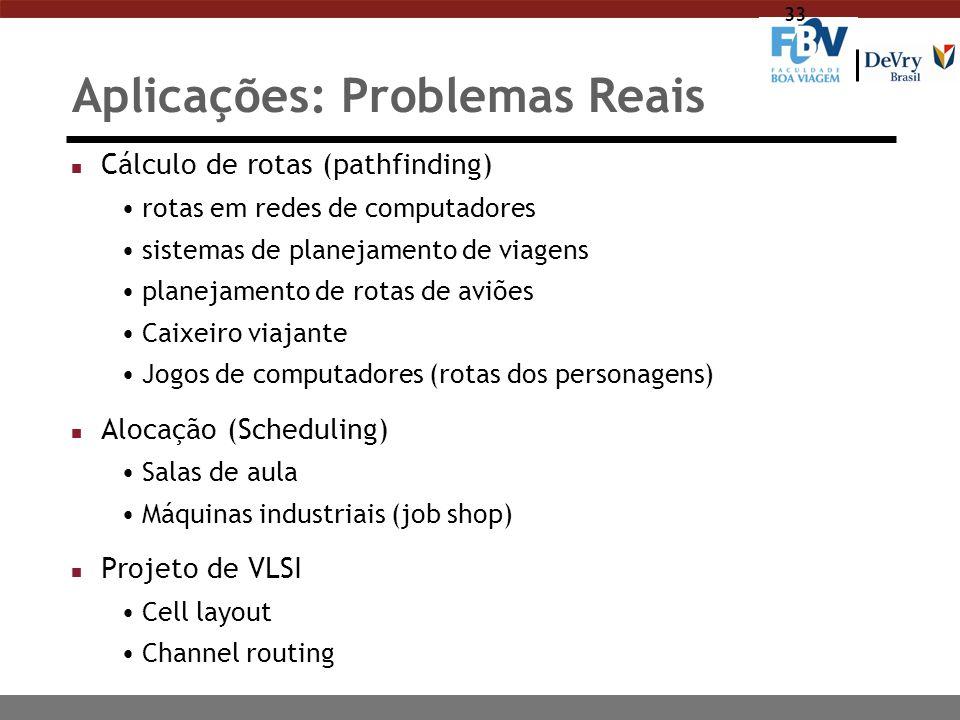 33 Aplicações: Problemas Reais n Cálculo de rotas (pathfinding) rotas em redes de computadores sistemas de planejamento de viagens planejamento de rot