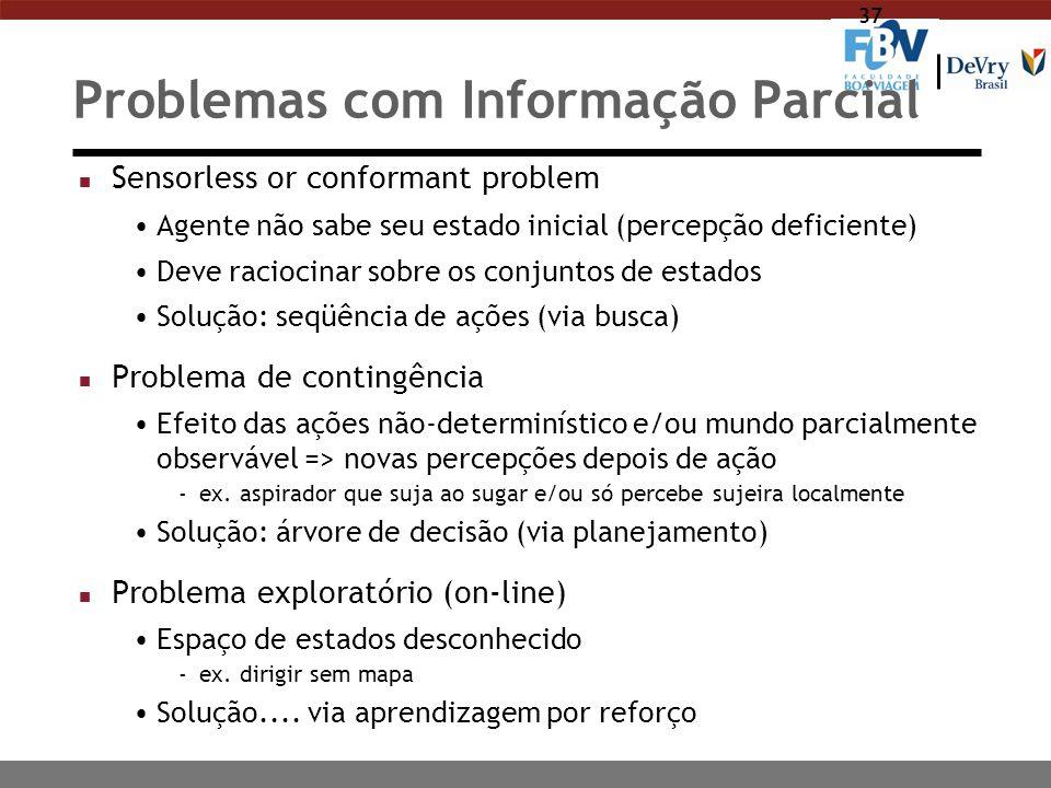 37 Problemas com Informação Parcial n Sensorless or conformant problem Agente não sabe seu estado inicial (percepção deficiente) Deve raciocinar sobre