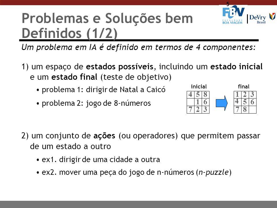 5 Problemas e Soluções bem Definidos (1/2) Um problema em IA é definido em termos de 4 componentes: 1) um espaço de estados possíveis, incluindo um es