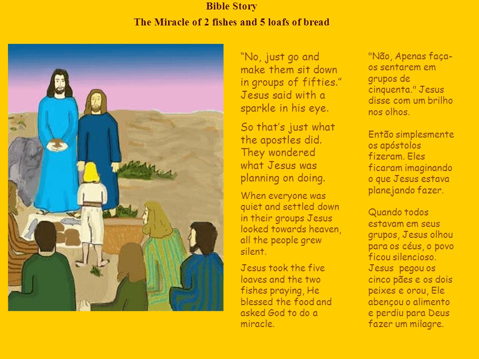 Bible Story The Miracle of 2 fishes and 5 loafs of bread Jesus began to break the food into pieces and gave it to His apostles to give it to the people.