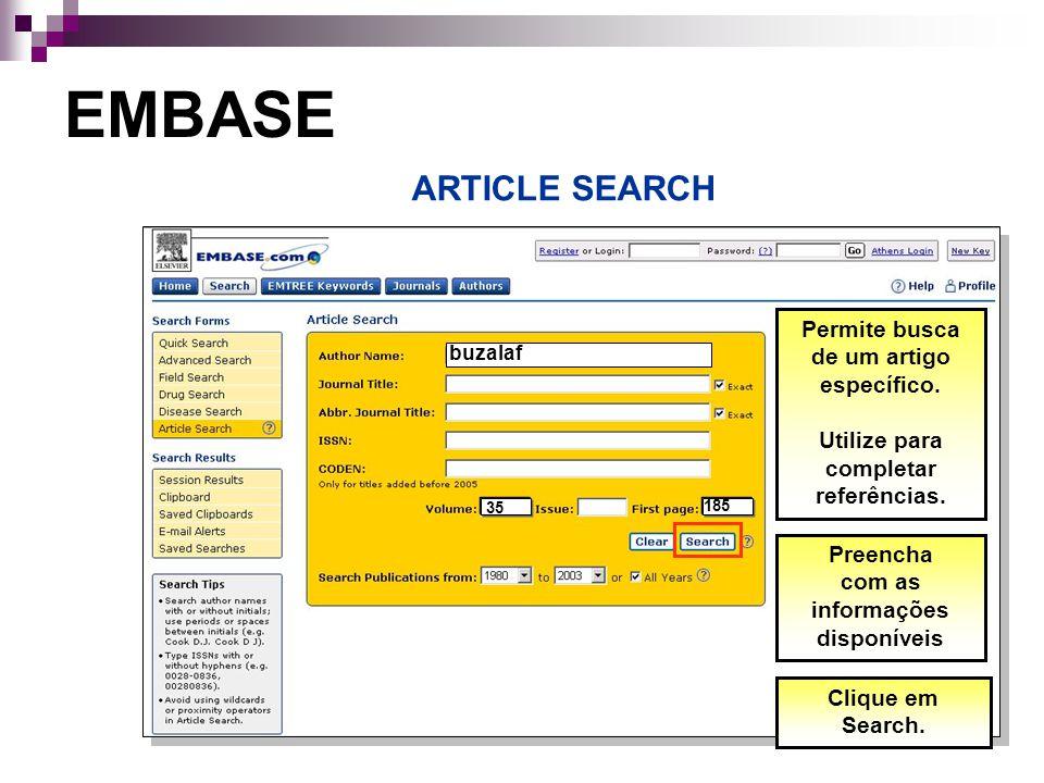 Permite busca de um artigo específico.Utilize para completar referências.